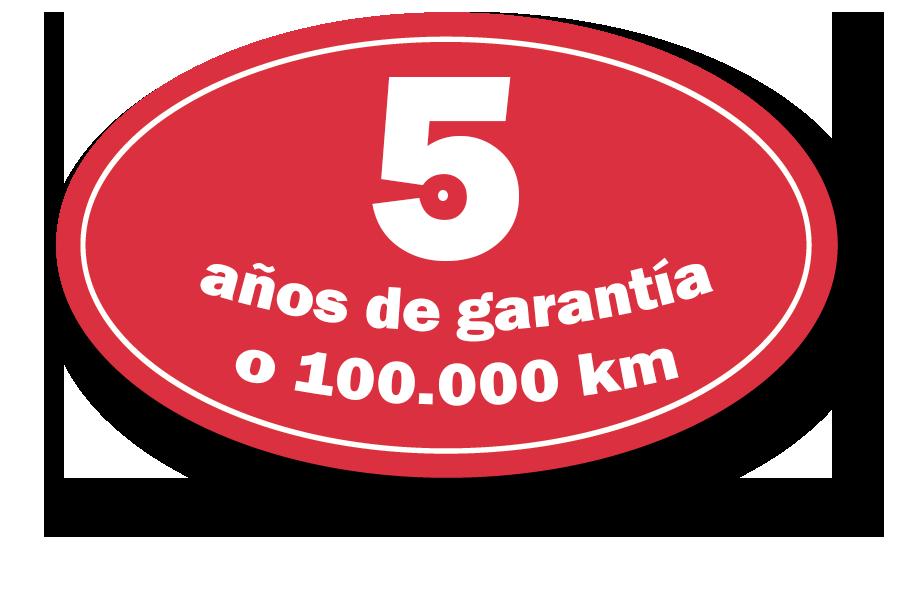 5 años de garantía o 100000 km